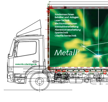 Technische Zeichnung eines LKW von MTS